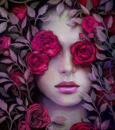 ... Grave Picture (2d, illustration, painting, portrait, flowers, girl