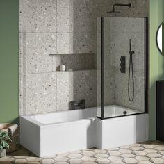 Bath Shower Screens, Shower Over Bath, Master Bath Shower, Tub Shower Combo, Bathtub Shower, Shower Enclosure, Small Bathroom With Tub, Small Bathroom Layout, Bathroom Design Layout