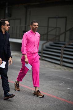 all pink menswear street style