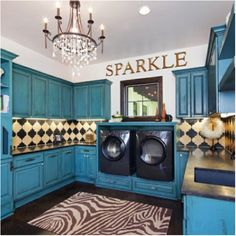 Sparkle Laundry Room...love the design and color.
