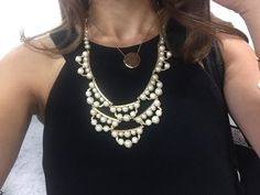 Frances Pearl Statement Necklace .. can be worn as a longer bib necklace or shortened to collar length.