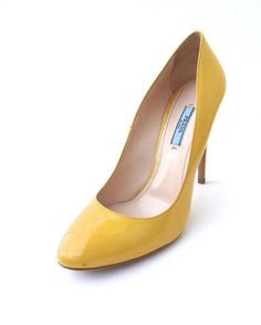 Prada Patent Leather Yellow Stiletto Pumps Size 41Worn Once