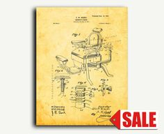 Patent Print - Barber's Chair Patent Wall Art Poster Print