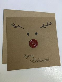 Reindeer card, merry christmas card, button nose reindeer!
