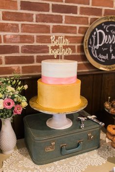 #white #pink #yellow #wedding #cake @weddingchicks