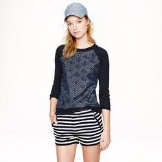 J.Crew - Merino wool sweater in chambray eyelet