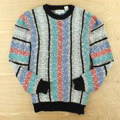 vtg 80s 90s abstract print SANTANA acrylic sweater LARGE ugly cosby fresh prince   eBay