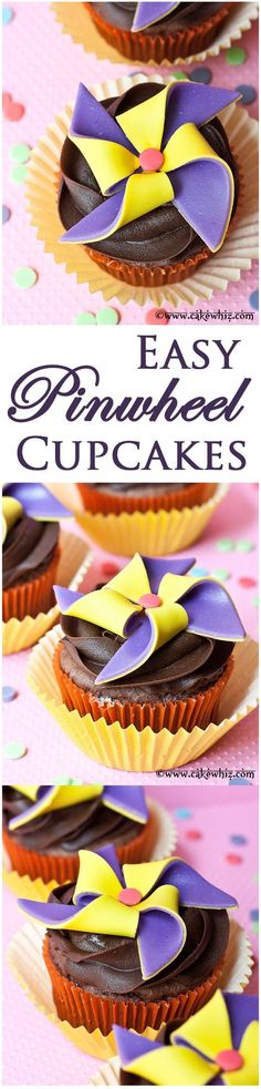 Easy PINWHEEL CUPCAKES with step-by-step tutorial. Great to serve at parties! From cakewhiz.com