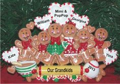 One or Both Grandparents with Their 6 Grandkids Tabletop Christmas Decoration