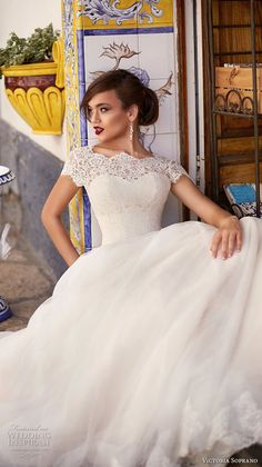 victoria soprano 2017 bridal cap sleeves illusion bateau sweetheart neck heavily embellished bodice romantic a line wedding dress corset back chapel train (ornella) zv -- Victoria Soprano 2017 Wedding Dresses