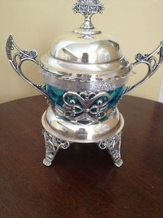 Ornate Victorian Silverplate Pickle Spooner Castor Blue Glass | eBay