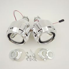 2 UNIDS 2.5 ''HID Final de Xenón Bi Lente del proyector del xenón Aparcamiento Styling H4 H7 Faros Lámpara de BRICOLAJE para H1Bulb con cubiertas Socket