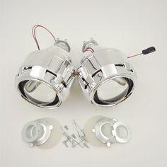 2 개 2.5 ''HID 크세논 궁극적 인 이중 크세논 프로젝터 렌즈 주차 자동차 스타일링 헤드 라이트 DIY 램프 H1Bulb 함께 슈라우드의 H4 H7 소켓