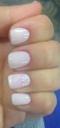 Romantique shellac wedding nails soft nude color only in here https://designingweddings.net