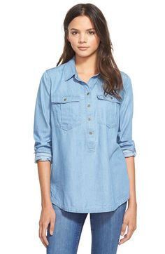 Paper Crane Paper Crane Chambray Shirt (Juniors) available at #Nordstrom