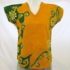 "Batik Blouse - Green on Orange (XX Small) 36"""