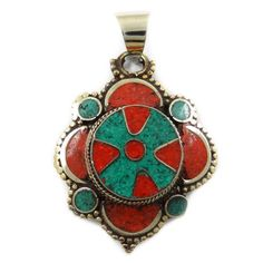 Red Coral Mosaic Tile Goldtone Jewelry Pendant Women Fashion Jewellery