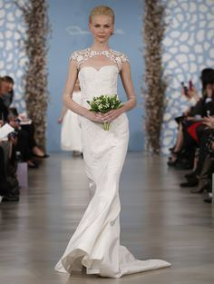 Oscar de la Renta 2014 collection white lace open neck sweetheart cap sleeves trumpet wedding gown