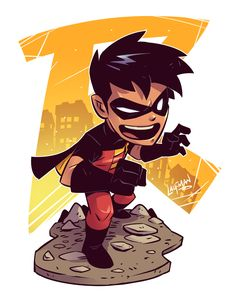 Chibi Robin by DerekLaufman on DeviantArt Héros Dc Comics, Heros Comics, Flash Comics, Dc Heroes, Character Drawing, Comic Character, Character Design, Cartoon Cartoon, Comic Books Art