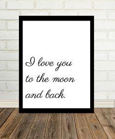 Ich liebe dich bis zum Mond und zurück. Schöne Zitat Typografie perfekt für jeden Raum im Haus oder sogar Geschenk für einen geliebten Menschen. Fügt