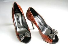 Gina designer shoes Mystique Red leather animal print crystal bow size 6 to