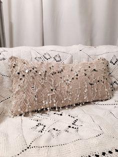 White Moroccan Wedding Blanket Lumbar Pillowcase   Pillow   Boho   Sequins   Tribal   Handira   Cotton   Berber