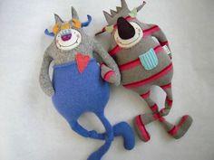 Monster Stuffed Animal Upcycled Wool Angora by sweetpoppycat, $43.00