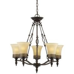 """Hand-painted five-light ironwork chandelier with interlocking ring border details on frosted glass shades.   Product: 5-Light chandelier  Construction Material: Iron and glass  Color: Oil rubbed bronze  Features: Frosted shadesHand-painted   Accommodates: (5) 13 Watt CFL bulbs - included  Dimensions: 27"""" H x 26"""" Diameter"""