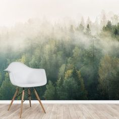 Wake up and smell the coffee with our Morning Forest Mist wallpaper! Custom-made for your wall. FREE UK delivery within 2 to 4 working days. Forest Wallpaper, Wallpaper Murals, Tree Wallpaper, Wall Murals, Wall Art, Wall Painting Living Room, Forest Mural, Library Images, Mists