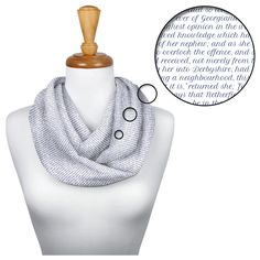 This scarf is created entirely from the text of Pride and Prejudice. Up to words per scarf. The Secret Adversary, Adventures Of Sherlock Holmes, Old Clocks, Elements Of Style, The Little Prince, Declaration Of Independence, Pride And Prejudice, Beauty And The Beast, Scarves