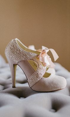 Blush bow booties