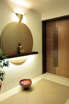 entrance View full picture gallery of Soham Bungalow by Dipen Gada & Associates - Vadodara Pooja Room Design, Foyer Design, Entrance Design, Wall Design, House Design, Home Entrance Decor, House Entrance, Entrance Doors, Entryway Decor