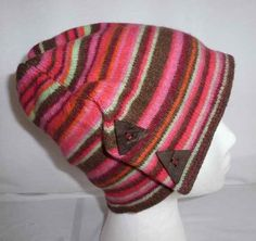 cloche beanie style Pure wool color stripes 4 by Regathered