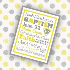 Customized Gray and Yellow Baptism Subway Art  by GreenJelloSalad