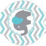 Enfeite Canudinho Elefantinho Chevron Cinza e Azul Turquesa