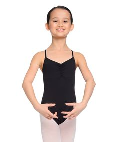 Rich Black Ruched Cross-Strap Leotard - Toddler & Girls