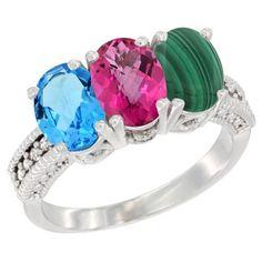 10K White Gold Natural Swiss Blue Topaz, Pink Topaz & Malachite Ring 3-Stone Oval 7x5 mm Diamond Accent, sizes 5 - 10 #pinkdiamonds