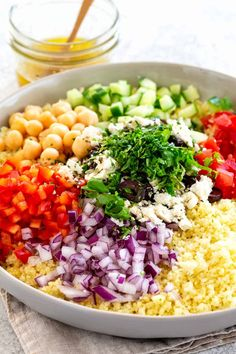 Mediterranean Couscous Salad Mediterranean couscous salad with a fresh lemon herb dressing Tossed with colorful vegetables feta cheese olives and garbanzo beans couscous mediterranean salad semolina Mediterranean Couscous, Mediterranean Diet Recipes, Moroccan Couscous, Healthy Side Dishes, Healthy Salads, Vegetarian Recipes, Cooking Recipes, Healthy Recipes, Cooking Rice