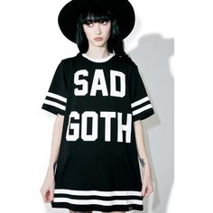 Killstar Sad Goth Hockey T-Shirt ($40) ❤ liked on Polyvore featuring tops, t-shirts, goth tops, goth t shirts, oversized tee, over sized t shirt and oversized tops