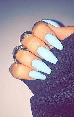 Light Blue Squoval Acrylic Nails