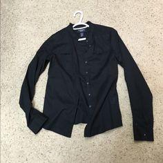 NWOT black shirt NWOT black shirt with little Ruffles, Very classic Tops Button Down Shirts