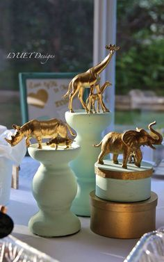 Golden Safari baby shower by LYUET Designs.
