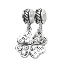 Isajewelry 925 Sterling Silver Heart Big Sis & Lil Sis Sister Charm Cheap Sale Fit Pandora Charm Bracelets JqurUUf0D