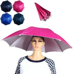 Yoshikawa Folding Umbrella Hat 70cm Diameter Cap with Adjustable Headband Outdoor Fishing Camping Supplies (RANDOM COLOR) | Sammydress.com