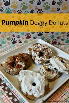 """Pumpkin Doggy Donuts Recipe-  These homemade doggy donuts have a yogurt """"icing"""" and are as fun to make as they will be for your dog to eat! via Dogue.com.au"""