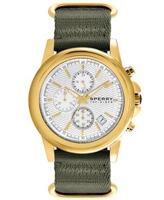 Sperry Top-Sider Watch, Men's Chronograph Halyard Green Nato Woven Strap 42mm 103073