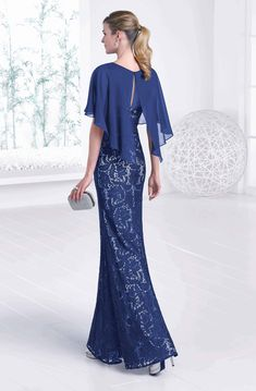 Full length lace dress with attached cape. Sizes 16 & 18 - Catherines of Partick Cape Dress, Dress Skirt, Elegant Dresses, Beautiful Dresses, Mother Of The Bride Plus Size, Blue Dresses, Prom Dresses, Estilo Real, Evening Dresses With Sleeves
