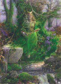 Cerridwen of the Welsh - Anna-Marie Ferguson Celtic Goddess, Celtic Mythology, Fantasy Forest, Forest Art, Fantasy Art, Wiccan Art, Gaia, Sacred Feminine, Green Man