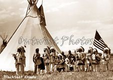 PHOTO BLACKFEET NATIVE AMERICAN INDIAN CHIEF TIPI TEEPEE PATRIOTIC US USA FLAG