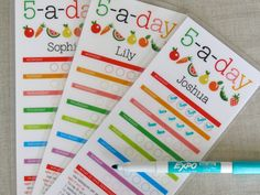 Healthy Eating Chart for Kids - 5-a-day - Printable. $4.00, via Etsy.